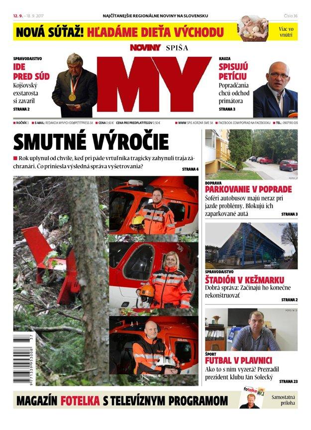 Titulná strana týždenníka MY Noviny Spiša č. 36/2017.