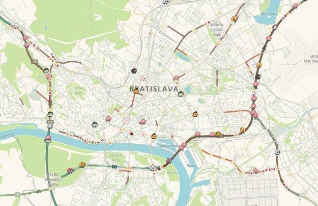 Dopravná situácia v Bratislave o 10:00