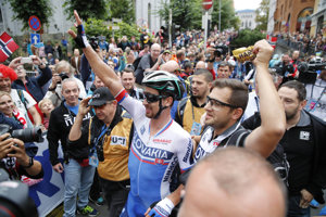 Radosť Petra Sagana z triumfu.