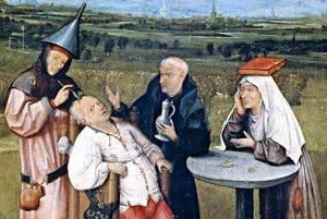 """Odstraňovanie """"kameňa šialenstva"""" na obraze Hieronima Boscha z rokov 1488 až 1516."""