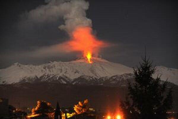 Výbuch zasneženej Etny.