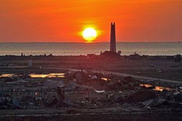 Zničené pobrežie Japonska.