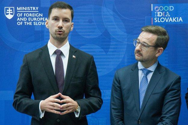 Zľava: Štátny tajomník MZVaEZ SR Lukáš Parízek a generálny tajomník Organizácie pre bezpečnosť a spoluprácu v Európe (OBSE) Thomas Greminger.