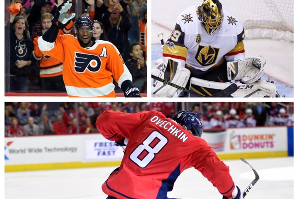 Wayne Simmonds (hore vľavo), Marc-Andre Fleury (hore vpravo) a Alexander Ovečkin - tri hviezdy úvodného týždňa NHL.