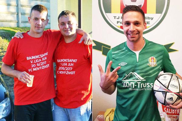 Na snímke úplne vľavo Anton Barčák, najlepší strelec súťaže. Vpravo útočník Horných Salíb Matúš Klenkovič, ktorý síce teraz hetrik nestrelil, ale pečatil víťazstvo v poslednej minúte.