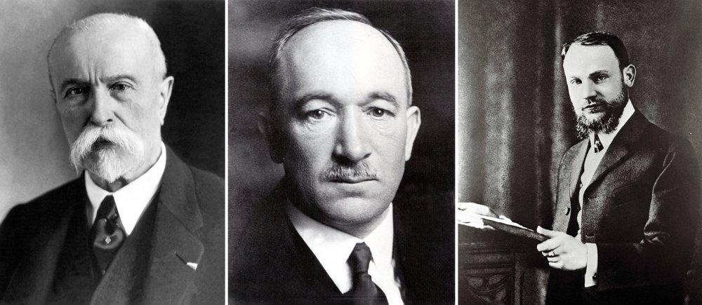 Tomáš Garrigue Masaryk, Edvard Beneš a Milan R. Štefánik. Traja zakladatelia spoločného štátu Čechov a Slovákov.