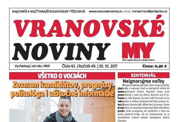Titulná strana týždenníka Vranovské noviny č. 43/2017.