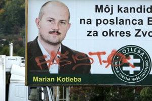 Poškodený billboard ĽSNS.