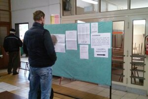 Volebná miestnosť na Strednej priemyselnej škole na Komenského v Trnave.
