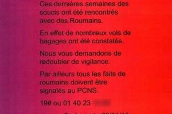 Rasistický plagát mohli v januári zhliadnuť cestujúci na juhu Francúzska.
