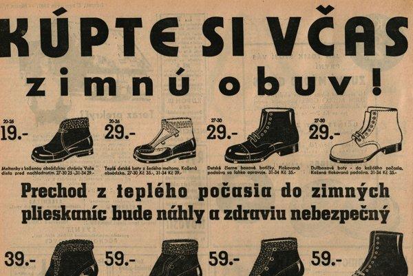 Reklama na zimnú kolekciu obuvi Baťa z roku 1937.