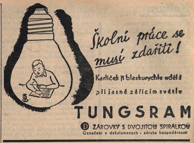 Dobová reklama na žiarovky Tungsram.
