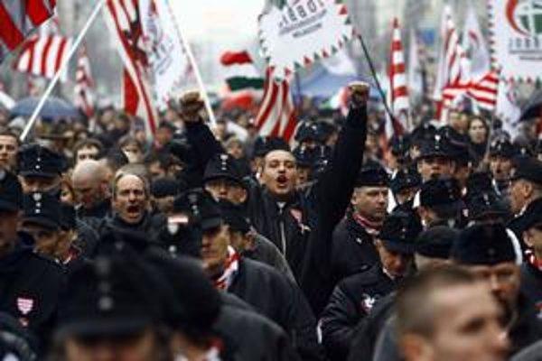 Demonštrácia Jobbiku 15. marca v Budapešti.