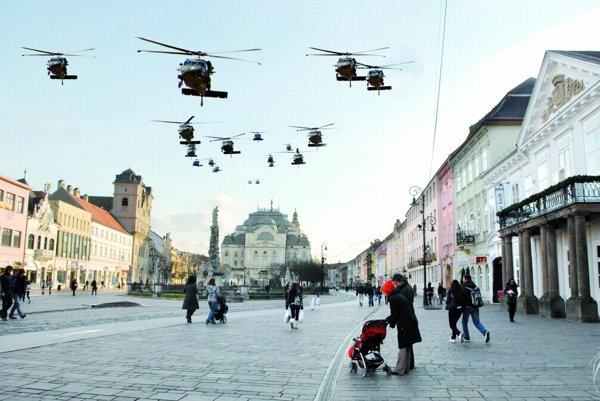 Vrtuľníky leteli nad mestom v bojovej formácii.