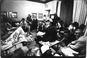 Tlačová konferencia v Bielom dome vo Washingtone, 1979. S dovolením Rakúskej národnej knižnice.