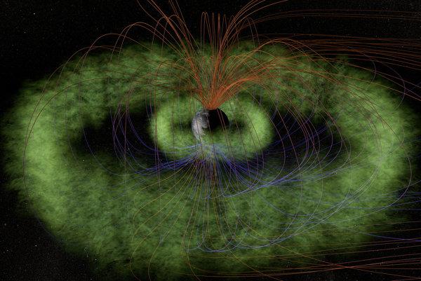 Van Allenove pásy (zelená) sú sústredené pásy v tvare šišky-donutu naplnené nabitými časticami zachytenými v magnetickom poli Zeme.