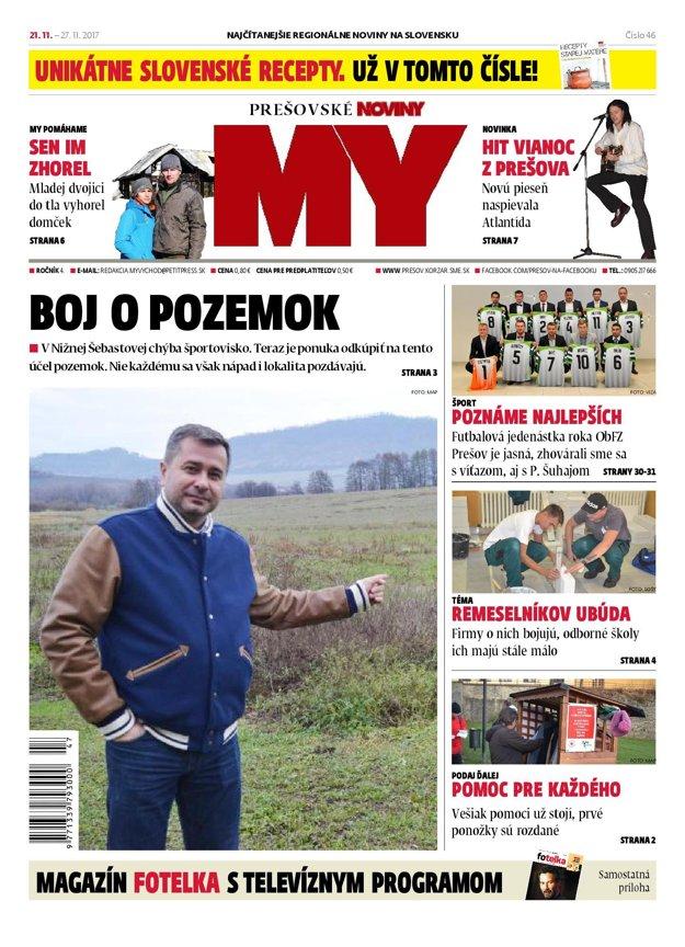 Titulná strana týždenníka MY Prešovské noviny č. 46/2017.