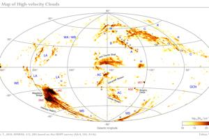 Mapa celej oblohy, ktorá ukazuje miesto a hustotu vodíkových oblakov.