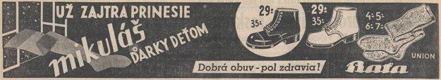 Mikulášska reklama na obuv Baťa z roku 1937.