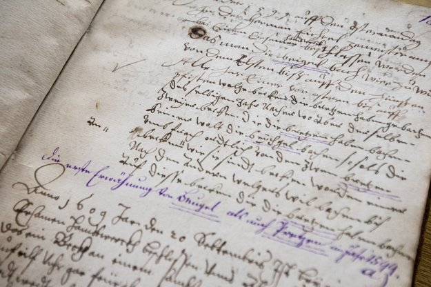 Historický zápis o rožkoch z roku 1599.