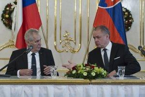 Český prezident Miloš Zeman a prezident Slovenskej republiky Andrej Kiska.