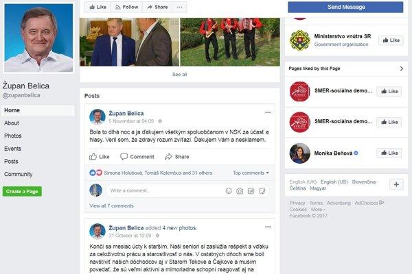 Belicov Facebook je opäť raz mŕtvy. Posledný status tu bol 5. novembra, voľby boli deň predtým.