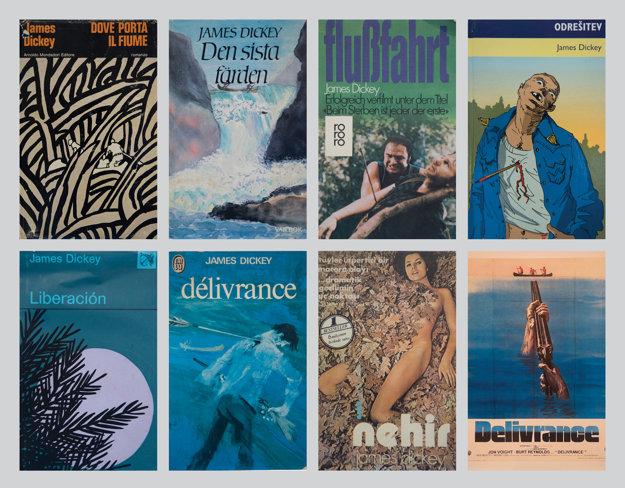 Obálky rôznych vydaní Vyslobodenia (Deliverance). Na Slovensku sa z tejto knihy bestseller nestal.