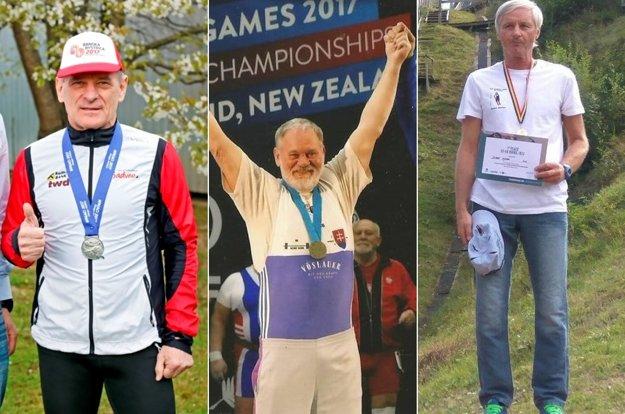 Na fotografii zľava Vladimír Výbošťok, Jaroslav Chebeň aJozef Hýsek na staré kolená prinášajú domov medaily.