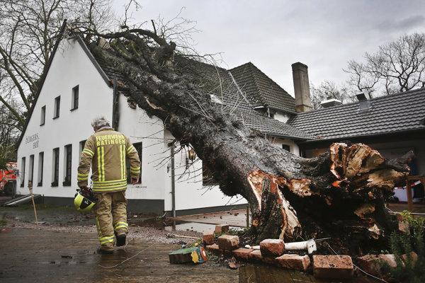 Búrka sprevádzaná silným vetrom v Nemecku strhávala stromy.