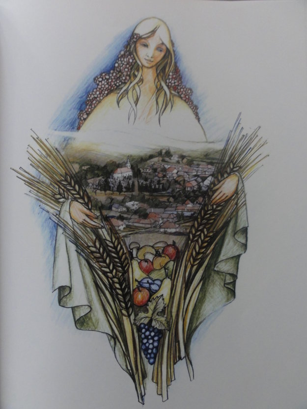Ilustrovaný symbol obce Jedľové Kostoľany.
