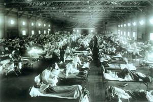 Americká pohotovostná vojenská nemocnica počas pandémie chrípky.