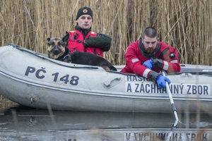 Policajný psovod s hasičmi na člne v mieste nálezu tela neznámej ženy počas pátrania v lokalite Devínske jazero.