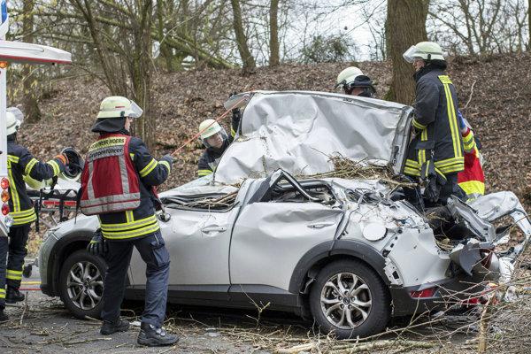 Polámané stromy v Nemecku poškodili niekoľko áut.