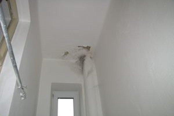 Zatečené steny sú dôsledkom deravej strechy.