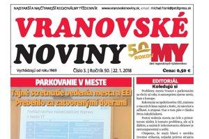 Titutná strana týždenníka MY Vranovské noviny č. 3/2018.