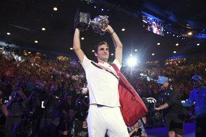 Roger Federer po triumfe na Australian Open 2018.