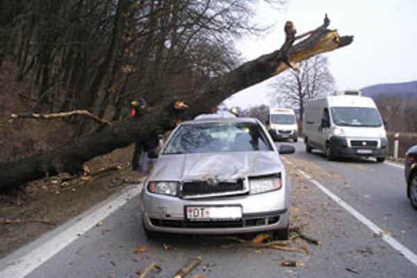 Spadnutý strom zdemoloval dve autá.