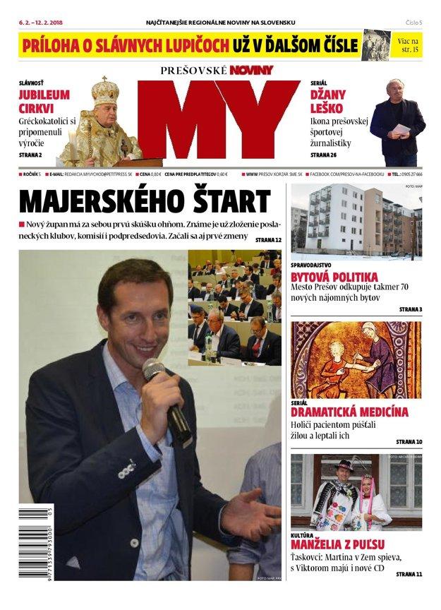 Titulná strana týždenníka MY Prešovské noviny č. 5/2018.