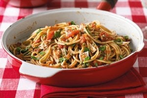 Špagety so šošovicou a paradajkami