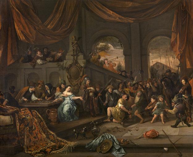 Obraz Jana Steena, ktory zobrazuje biblický výjav o Samsonovi a Dalile.