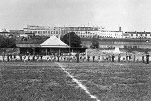 Futbalový štadión na Myjave v 50. rokoch