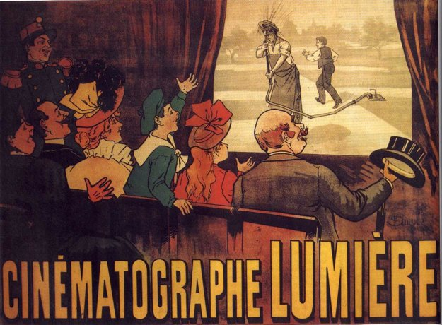 Dobový plagát z roku 1896 k obľúbenému pásmu filmov bratov Lumièrovcov.