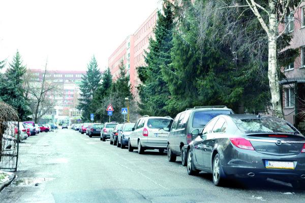 Branisková ulica. Mestská polícia tam pokutuje aj rezidentov, ktorí parkujú pozdĺžne popri ceste.