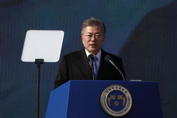 Juhokórejský prezident Mun Če-in počas prejavu k výročiu Hnutia 1. marca.