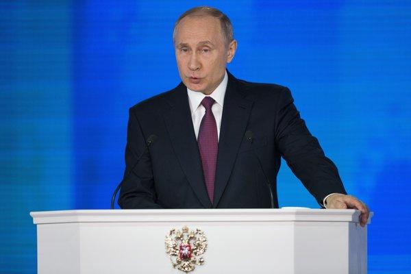 Ruský prezident Vladimir Putin počas výročného prejavu.