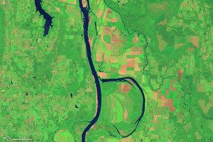 B: Rieka Arkansas a ostrovček, ktorý sa v zimnom období stáva útočiskom pre takmer 100-tisíc husí a kačíc.