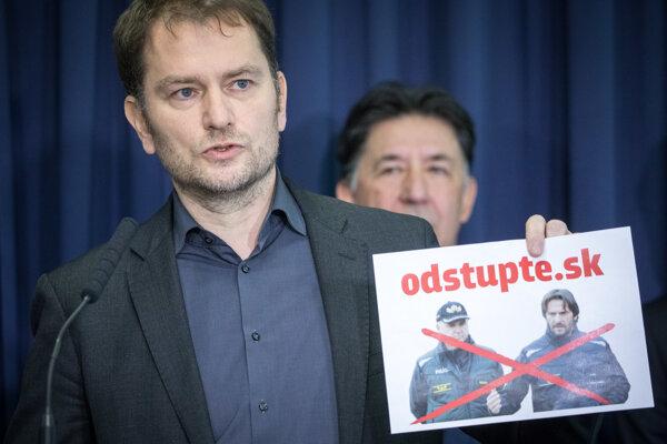 Líder hnutia OĽaNO Igor Matovič a člen strany OĽaNO Ján Budaj.