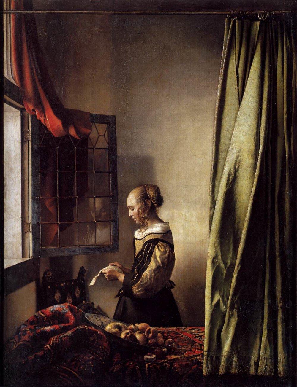 Dievča čítajúce list z roku 1657 nie je jediným obrazom Jana Vermeera s touto tematikou. Až na šiestich z celkovo tridsiatich siedmich dochovaných ktosi listy píše alebo číta.