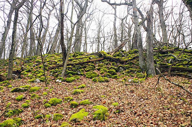 Kamene na vrchole sú pravidelne poukladané.