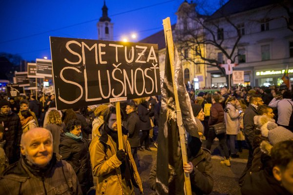 Piatkový protest v Bratislave.